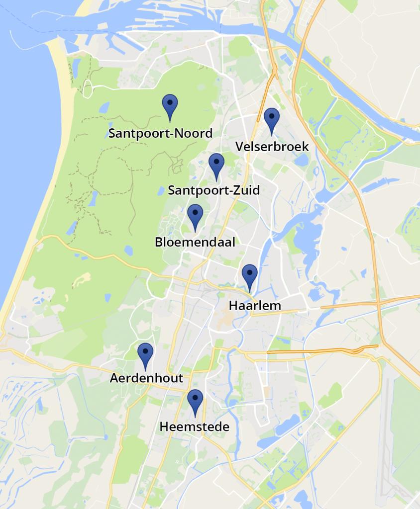 Kaart Massage Horizon locaties